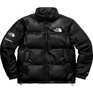 Supreme-X-The-North-Face-TNF-Leather-Nuptse-Jacket-Black-Size-XL