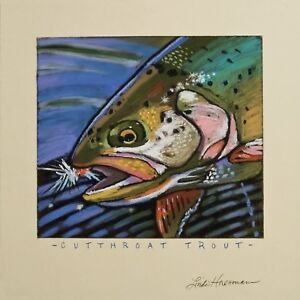 """Cutthroat Trout Art print personally signed by artist Linda Huesmann 10/"""" x 10/"""""""