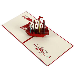 3D-Paper-Card-Sailing-Boat-Greeting-Cards-Birthday-Postcard-Craft-Gifts-HD