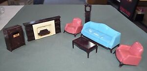 Vintage 1950s 1960s A Plasco Toy Dollhouse Living Room Furniture