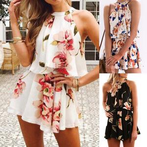 Women-Floral-Print-Chiffon-Playsuit-Beach-Halter-Sleeveless-Rompers-Jumpsuit-h8