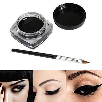 New Beauty Waterproof Black Eye Liner Gel Cream Makeup Cosmetic Eyeliner +Brush