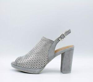 IGI CO. DVE 1168311 sandali donna con tacco plateau in camoscio forato acciaio