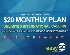 NEW EasyGo Wireless SIM $20 LTE UNLIMITED CALL+TEXT AT&T+1 MONTH FREE Included