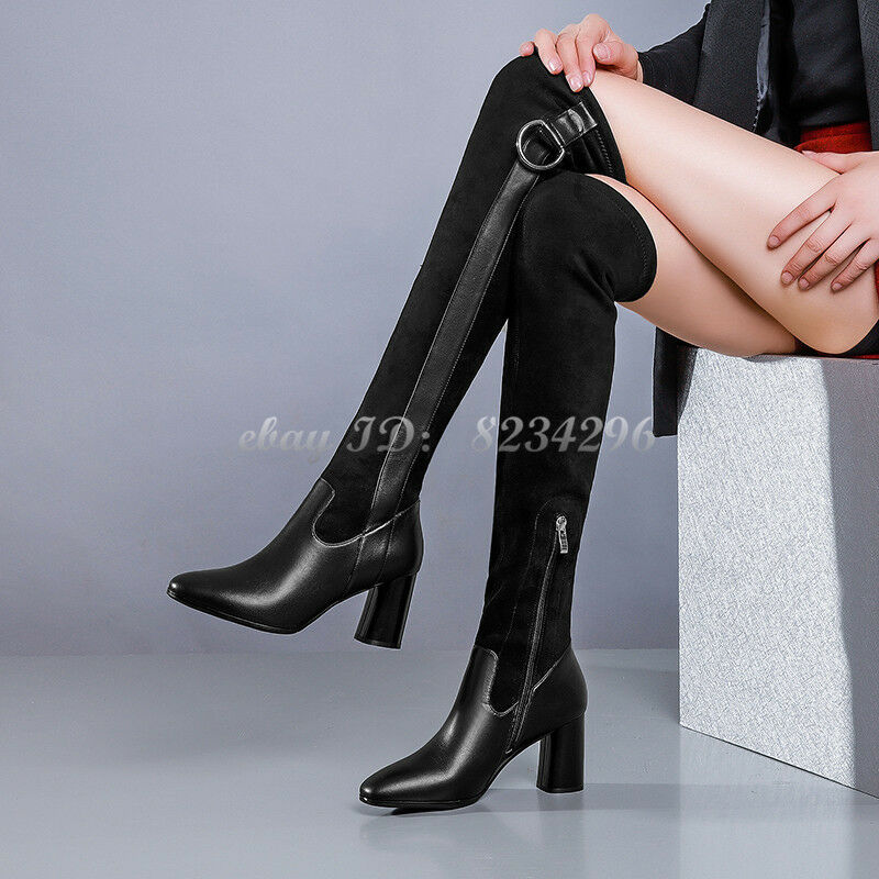 Modern Schwarz Damenstiefel Overknee Wadenhohe Stiefel Spitz Stiefel Schuhe TOP