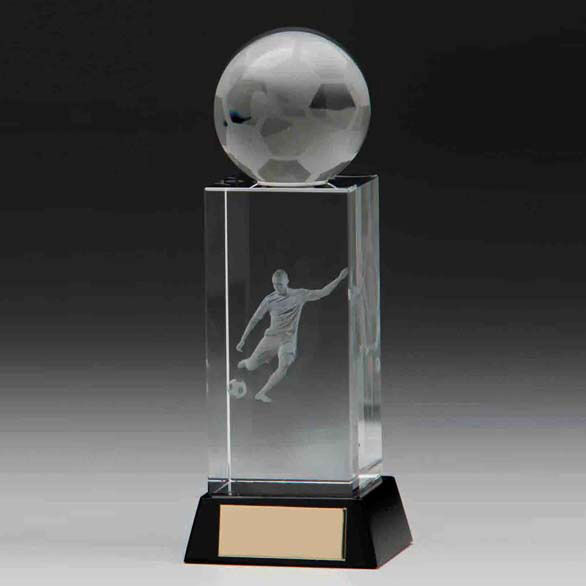 Sterling Football Crystal 3D Trophy,Award 175mm,FREE Engraving (CR16219B)trd