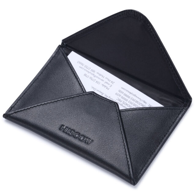 Hiscow envelope business card case black with magnet closure italian hiscow envelope business card case with magnet closure italian genuine leather reheart Image collections