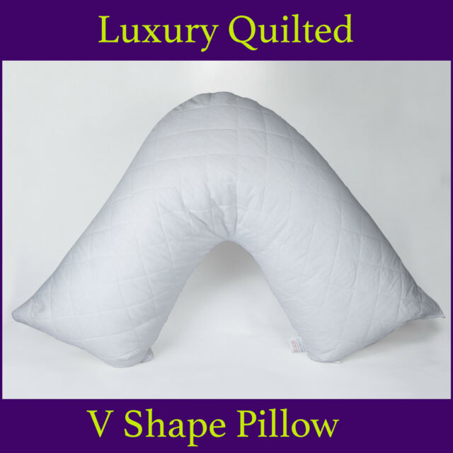 Quilted V Shaped Filled Pillow Orthopedic Pregnency Back Neck Nursing Support