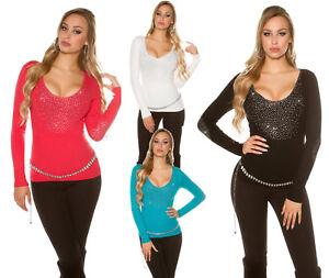 Pull-pullover-donna-maglia-strass-maglione-manica-lunga-sexy-nuovo