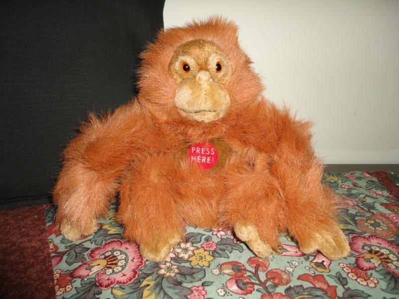 Plushland 2003 TALKING ORANGUTAN MONKEY Handmade