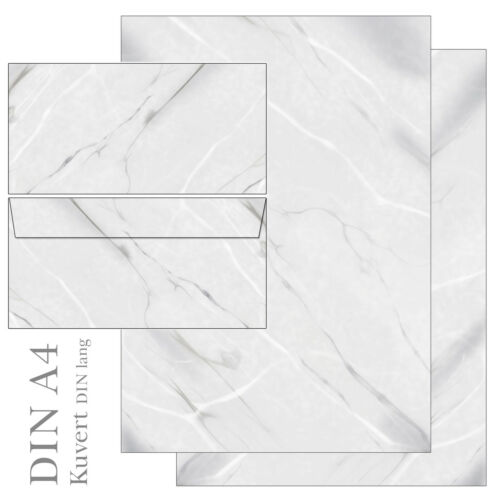 20 Kuverts Marmor grau weiß Set Motivpapier Briefpapier 20 Blatt A4 beidseitig