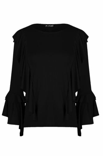 Ladies Womens Peplum Ruffle Cold Cut Shoulder Bell Frill Sleeve Flared Swing Top