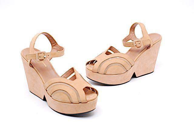 ROBERT CLERGERIE Apricot Suede Platform Ankle Strap Heels w/Mesh Inserts-US 9