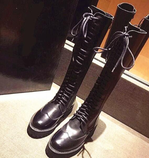 Cuero para Mujer Taco Plano Rodilla Alto Punta Punta Punta rojoonda botas De Montar Zapatos con cordones Punk I5  al precio mas bajo