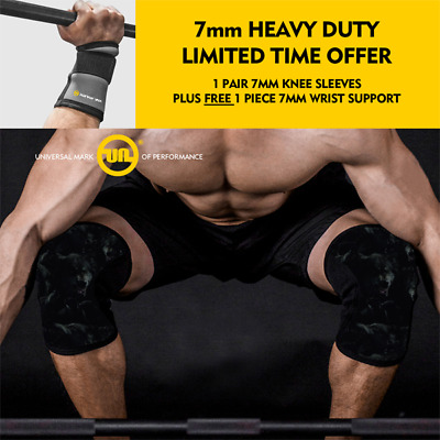 Knee Sleeve PAIR Brace 7mm Supports Gym Legs Training Squat Weight Power Lifting