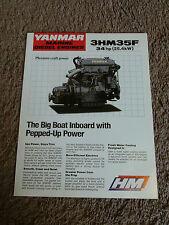 Yanmar Marine Diesel Engine 3HM35F Dealer Sales Brochure Sheet Specifications