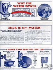 Vintage Illustrated Advertising Brochure Dairy Farm Water Bowls