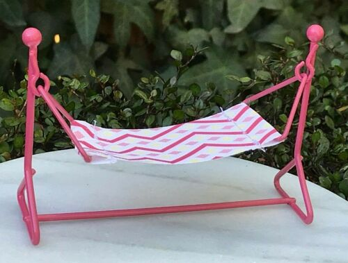 Miniature Dollhouse FAIRY GARDEN Furniture ~ Mini Pink Metal /& Cloth Hammock NEW