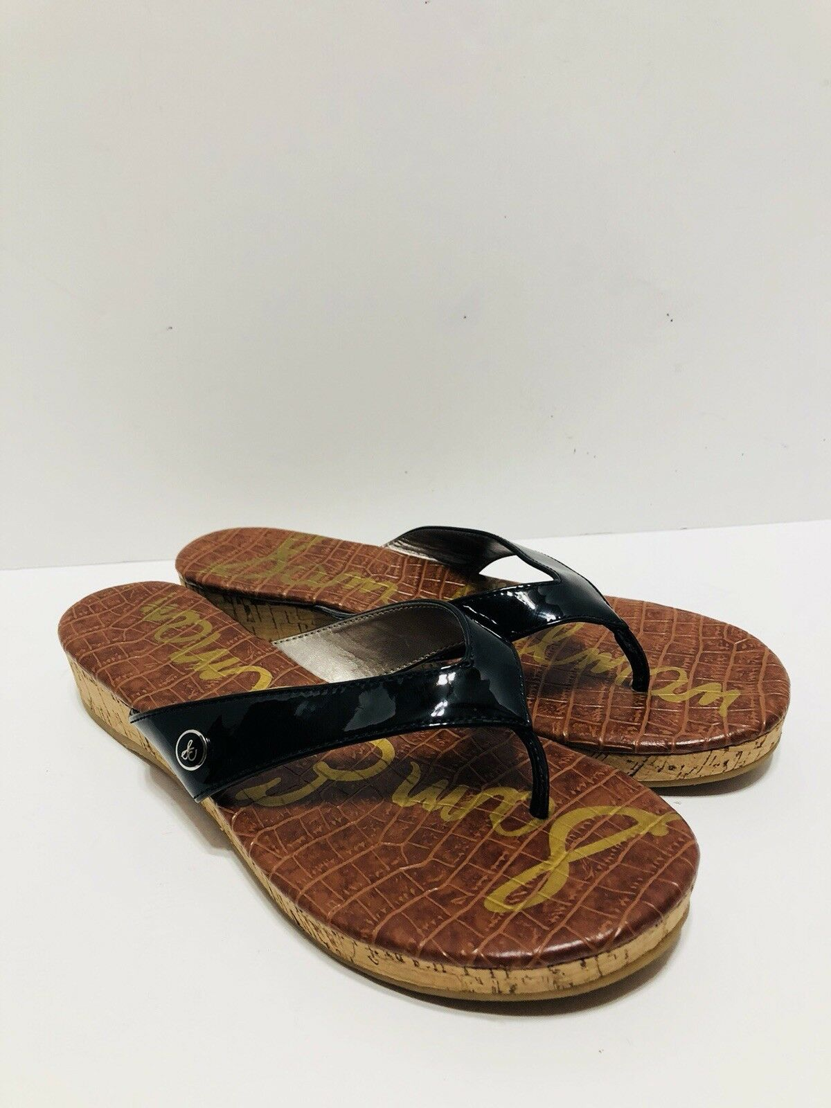 Sam Edelman Tanya Black Patent Leather Cork Wedge Flip Flops Women Size 8.5 EUC