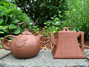 GROUP-OF-TWO-CHINESE-ANTIQUE-YIXING-ZISHA-CLAY-TEAPOTS