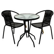 Black Wicker Bistro Sets Table Chair Patio Garden Outdoor Furniture ...