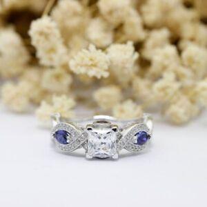 Princess-Cut-Diamond-Blue-Sapphire-Engagement-Ring-10K-White-Gold-Finish-2-00-Ct