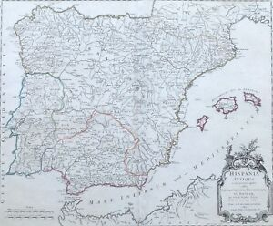 Cartina Spagna Antica.Antica Mappa Spagna Antiqua Baleari Lusitania De Vaugondy 1757 Ebay