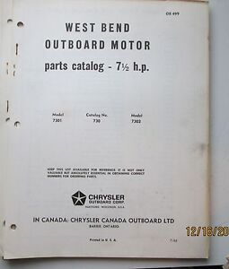 1965 West Bend 7 5 Hp Outboard Motor Parts Catalog Ebay