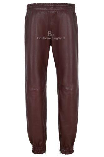 Uomo Vera Pelle Pantaloni Cherry con cinghie BIANCHE Morbido Napa Jogging Fondo 4051