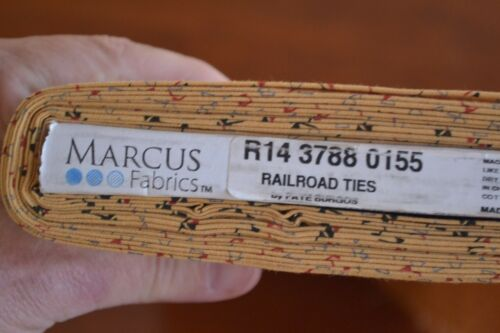 Marcus//Railroad Ties//Burgos//3788 B651 By 1//2 Yd Red Blue Black Gold Quilting