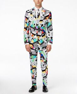 f8bca0d7cad2 NWT Men's OppoSuits Slim-Fit Testival Novelty Suit & Tie Set Multi ...