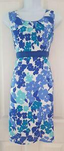 Para-Mujer-Boden-Vestido-Talla-8-Azul-Blanco-Floral-Algodon-sumeria-vacaciones-Lapiz-en-muy-buena