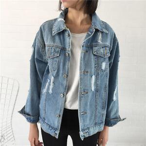 Image is loading Women-Ladies-Faded-Ripped-Oversized-Denim-Jacket-Slim- f1cc6dcd6c