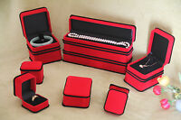 1 Set Velvet Jewellery Gift Box Red With Black Trim Necklace Ring Earring Sydney