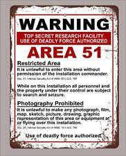 "Metal Sign 12""x18"" vintage look warning Area 51 funny decorative"