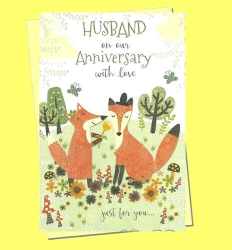 "Husband Anniversary Card Cute Fox LARGE 9/""x6/"" Wedding"