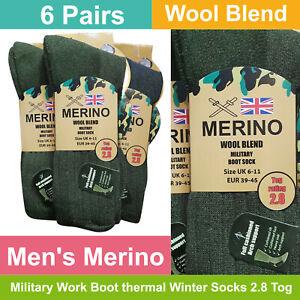 Men/'s Military Action Outdoor Thermal Wool Blend Socks 6-11 UK 2 Pair Pack
