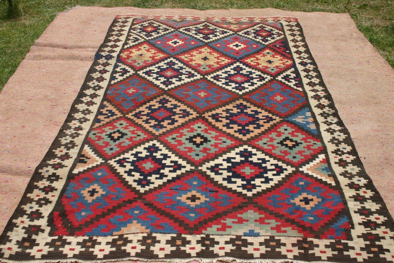 1900 antique Caucasian Caucasian antique arménien Hand Knotted agneaux laine Kilim 280 x 160 cm 3dd01f