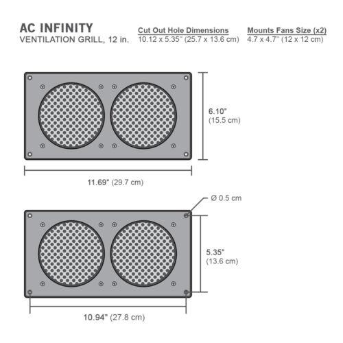 "mounts 120mm Fans AC Infinity Ventilation Grill 12/"" PC Electronic AV Cabinets"