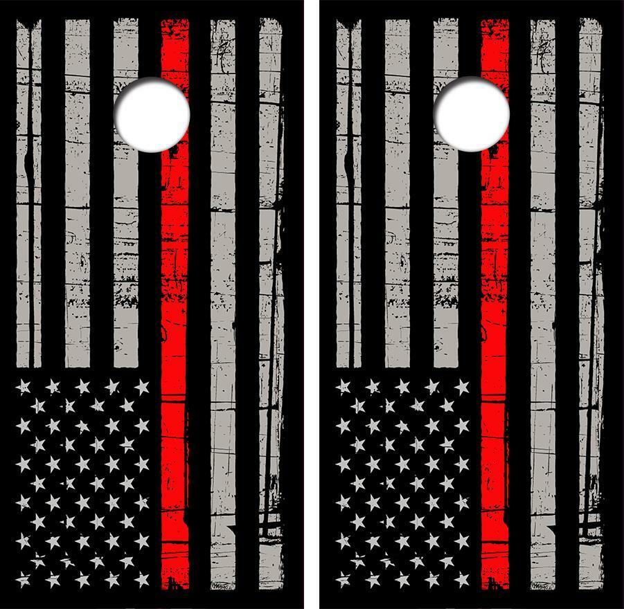 The Thin  Red Line Version Cornhole Board Skin Wrap FREE SQUEEGEE  save on clearance