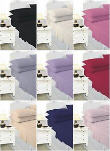 Luxury-Plain-Dyed-PolyCotton-Housewife-Pillow-Case-Cover-Cases-Pair-New