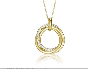 Tuscany Silver Gold Plated CZ Square Pendant on Curb Chain