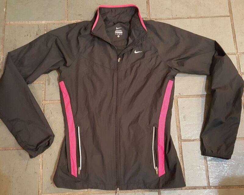 Women's Nike Running Full Zip Jacket Xs Black Hot Pink Bright In Colour