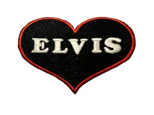Love Heart Elvis Presley Patch Embroidered Iron Sew On PATCH A1214