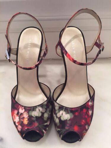 Multi Color Silk Karen Millen Sz 9 Shoe & Purse Se