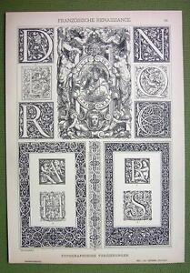 TYPOGRAPHIC-Ornaments-Renaissance-Monograms-FLorals-1880s-Antique-Litho-Print