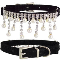 Small Black Pu Leather Diamond & Pearls Icicles Bling Glamour Cat Kitten Collar