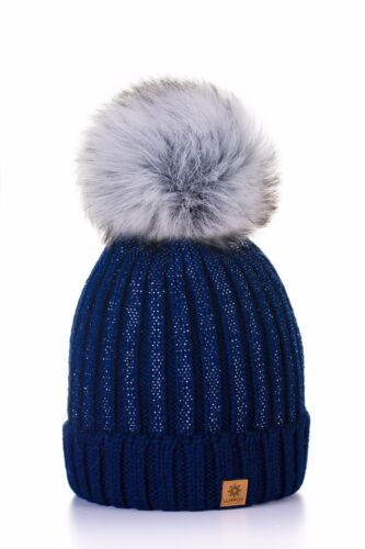 Women Winter Beanie Hat Knitted Small CRYSTAL Ladies Fashion Large Pom Pom Gifts