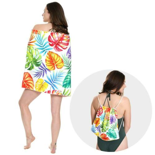 Multicolor Tropical Leaf Long Beach Pool Towel Converts Into Drawstring Backpack
