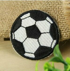 2 x football soccer ball patch patches clothes iron on sew on crafts child sport